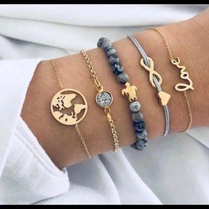 Jewelry - NWOT 5 PC Turtle World Infinity Love Bracelet